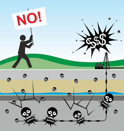 water pollution: illustration of environmental risks caused by fracking Stock Photo