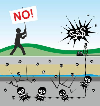 illustration of environmental risks caused by fracking Stock fotó