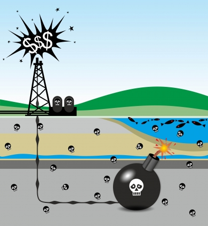 environmental pollution: illustration of environmental risks caused by fracking Stock Photo