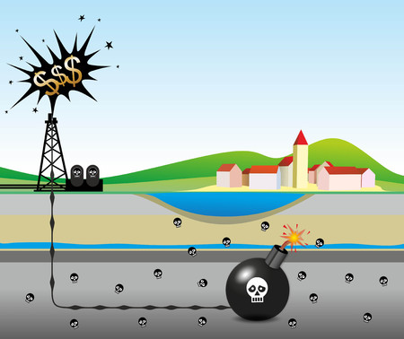 questionable: illustration of environmental risks caused by fracking Stock Photo