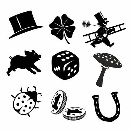 collection of different black and white luck charms and symbols