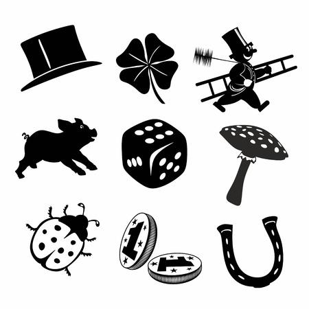Sammlung von verschiedenen schwarzen und weißen Glücksbringer und Symbole Standard-Bild