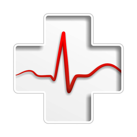 a cross-shaped sign with heartbeat during ecg photo