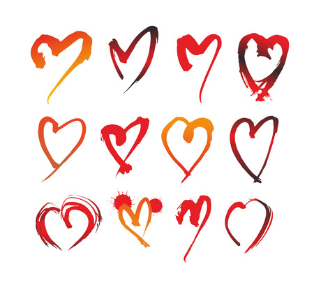 signet: illustration of different quickly drawn red hearts Stock Photo