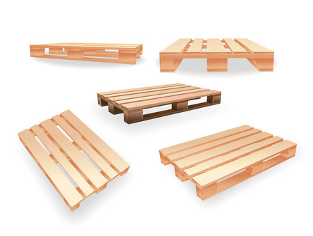illustration of a wooden pallet from different perspectives illustration
