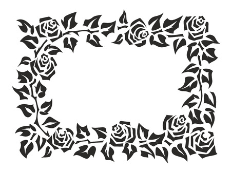 illustration of a frame made of roses illustration