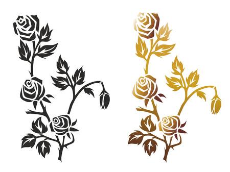illustration of a black and a golden rose illustration