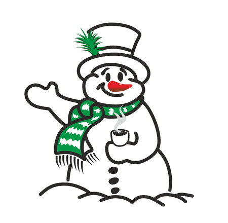 funny snowman with cylinder, scarf and coffee cup