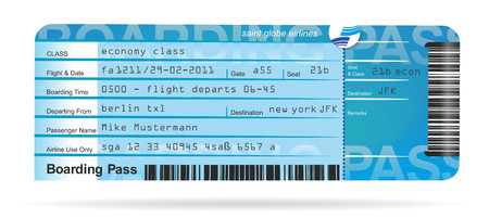 pass: illustration of a flight ticket for a journey