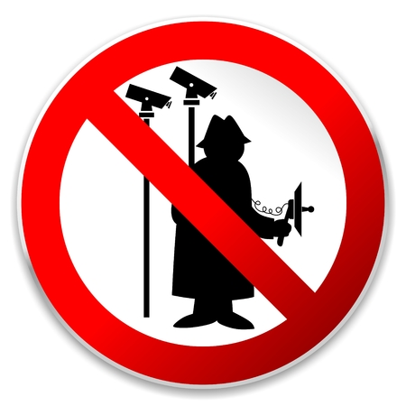 bugging: illustration of a sign prohibiting agents and spying