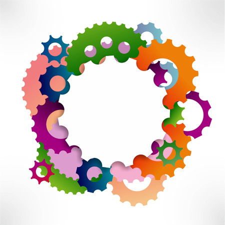rack wheel: illustration of colorful gear wheels forming a circle Stock Photo
