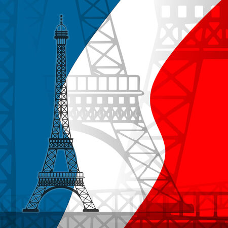 illustration of the eiffel tower with colors of the french flag illustration
