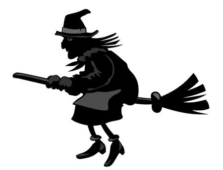 strega che vola: sagoma di una strega che vola su una scopa Vettoriali