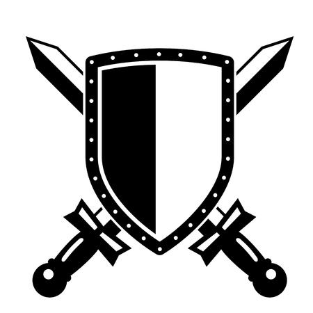 crossed swords: ilustraci�n de un emblema blanco y negro con las espadas cruzadas Vectores