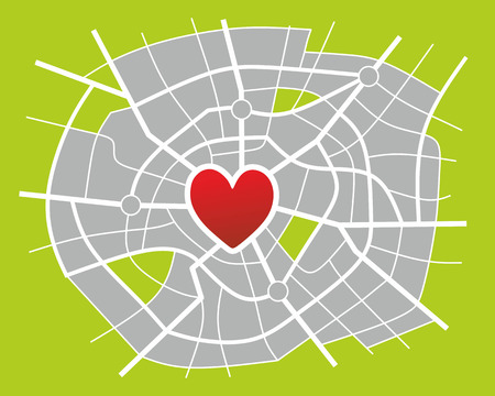 i net: illustration of an imaginary city map with heart as city center Stock Photo