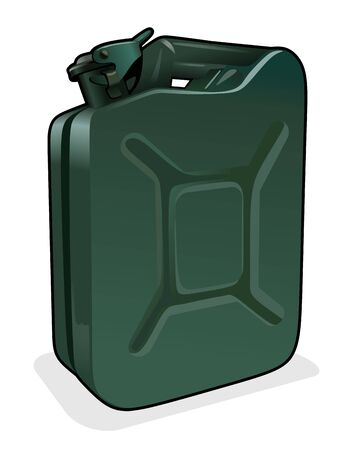 containment: illustration of a green petrol can with safety lock Illustration