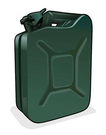 petrol can: ilustraci�n de una lata de gasolina verde con cierre de seguridad Vectores