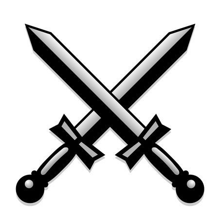 crossed swords: illustration of two monochrome and crossed swords Illustration