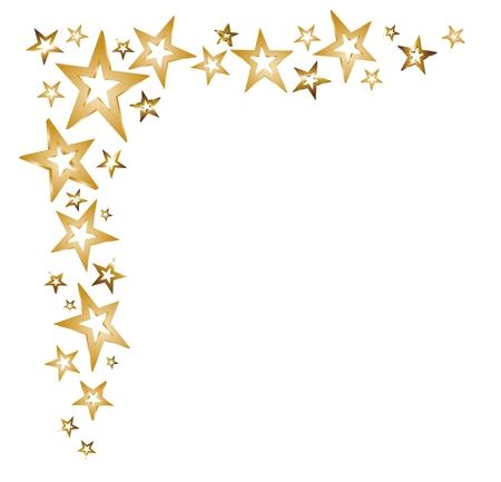 the decor: decoraci�n de la Navidad con las estrellas de oro y las estrellas fugaces