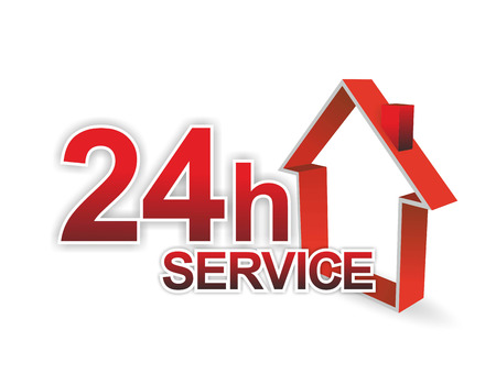 fast service: illustration of a 24 hour service for facility management Stock Photo