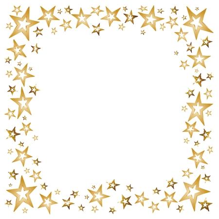 marcos decorados: decoraci�n de la Navidad con las estrellas de oro y las estrellas fugaces