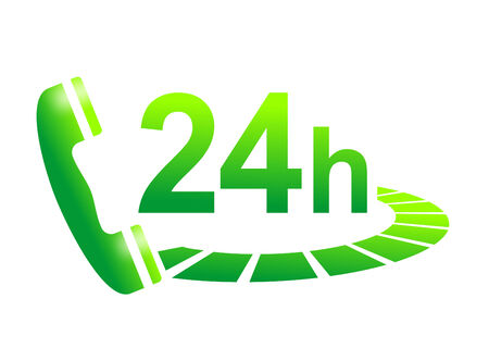 24 hour: illustration of a telephone for 24 hour support Stock Photo