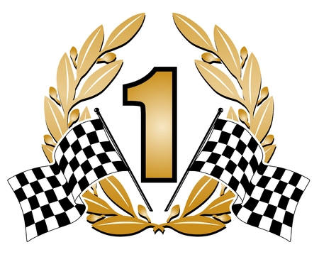 checker flag: illustration of a laurel wreath with the number one Illustration