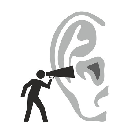 illustration of a figure shouting in an ear Reklamní fotografie