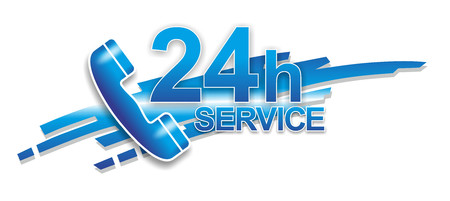 24 hour: abstract sign for 24 hour service via telephone
