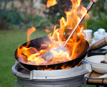 pan fried: preparing a chinese meal in a wok