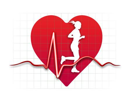 fitness and health: illustrazione schematica della relazione tra sport e salute del cuore Archivio Fotografico