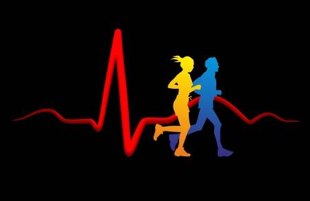 스포츠와 심장의 건강 사이의 관계에 대한 개략도 스톡 콘텐츠