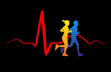infarct: schematic illustration of the relation between sport and health of the heart