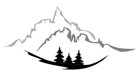 gestileerd bos landschap met dennen bomen, bergen en blauwe hemel Stock Illustratie