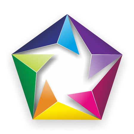 color theory: abstract illustration of a sign made of folded colored paper Stock Photo