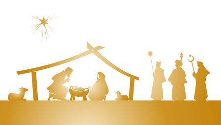 weihnachten gold: Illustration der Weihnachten Krippe als Schattenbild spielen