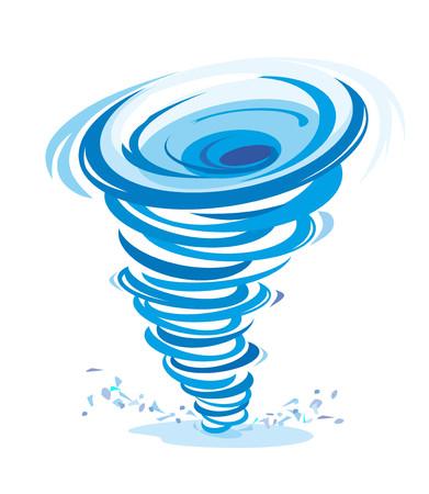 een comic-stijl illustratie van een blauwe twister