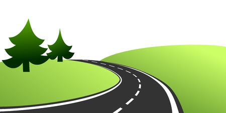 simplified: simplified illustration of a country road with trees and meadow Stock Photo