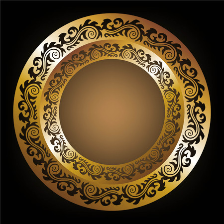 embellished: decorative golden plate with ornaments on black