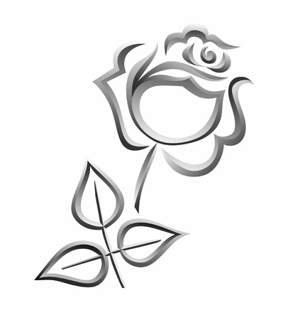 simplified: a simplified illustration of a silver rose