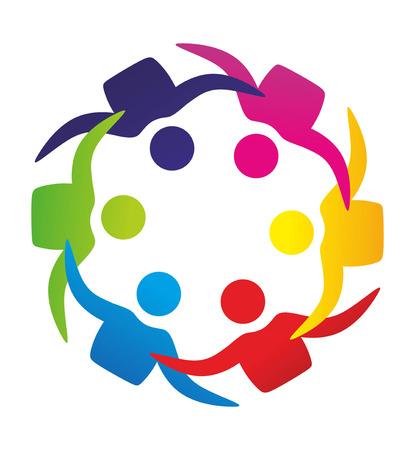 ni�os ayudando: ilustraci�n esquem�tica abstracta de grupos y terapia de conducta