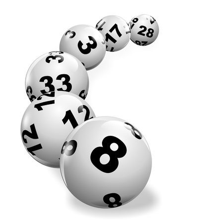 millions: illustration of lottery balls rolling on a white surface