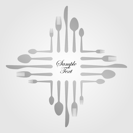 illustration of an abstract gastronomic sign made of cutlery
