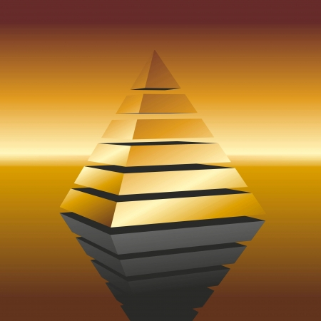 pretentious: illustration of a golden pyramid on mirroring surface