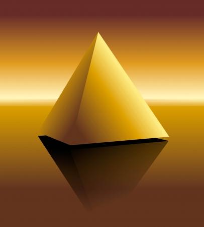 illustration of a golden pyramid on mirroring surface illustration
