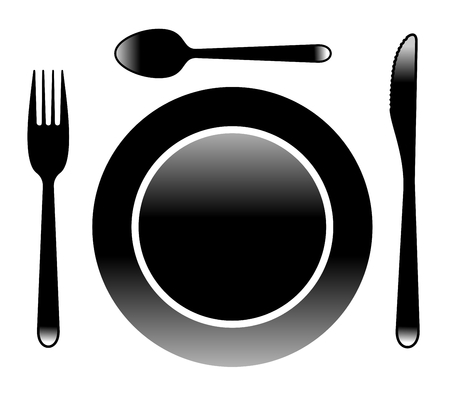 illustration of cutlery existing of fork, knife, spoon and plate