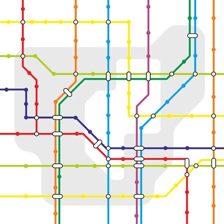 fictieve netwerk kaart voor stedelijk openbaar vervoer Stock Illustratie