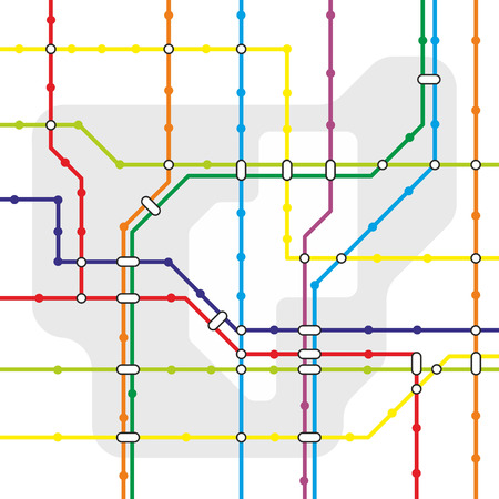 fictive network map for urban public transport Illustration