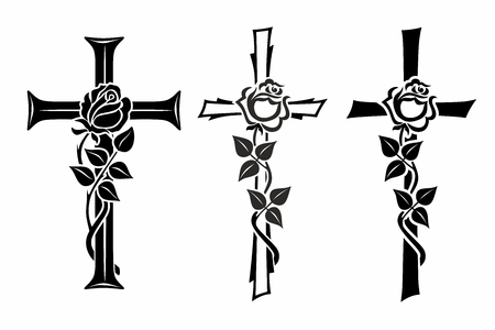 obituary: grave cross with rose for funerary decoration Stock Photo