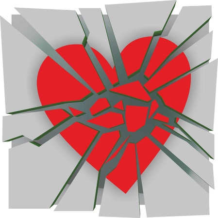 heartache: abstract illustration of a broken heart due to heartache